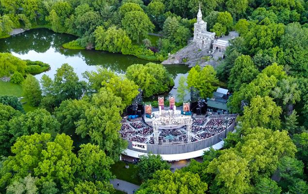 Drone photo of The Delacorte Theater in Central Park